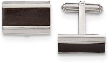Stainless Steel, Black Wood Inlay Enameled Rectangle Cuff Links