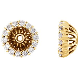 Diamond Cluster Earring Jackets,14k Yellow Gold (5.1 MM) (0.16 Ctw, G-H Color, I2 Clarity)