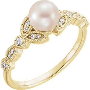 White Freshwater Cultured Pearl, Diamond Leaf Ring, 14k Yellow Gold (6-6.5mm)( .125 Ctw, Color G-H, Clarity I1) Size 7.75