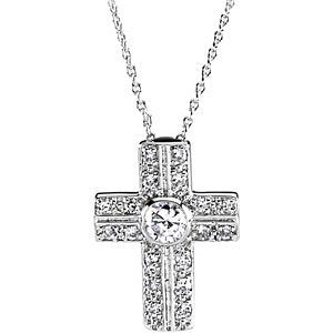 Sterling Silver Covenant of Prayer Austrian Crystal Filigree Cross Necklace, 18""