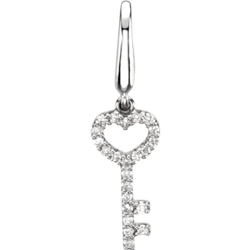 14k White Gold Diamond Key Charm Pendant with Trigger-less Clasp