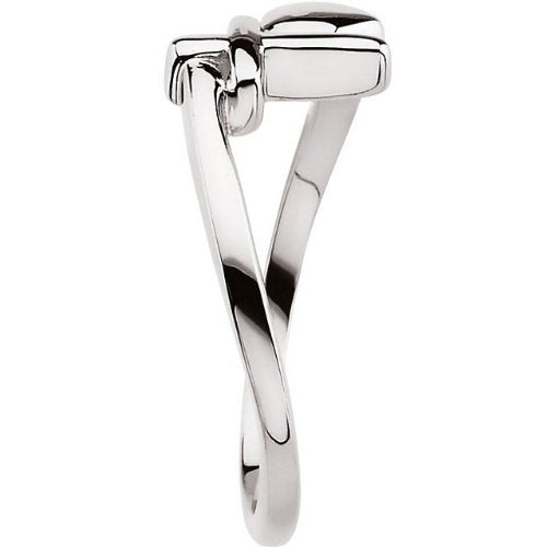 Sterling Silver Cross and Heart Chastity Ring, Size 6 to 7