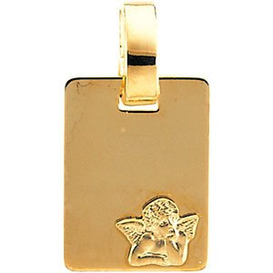 14k Yellow Gold Rectangle Angel Medal (12x9 MM)