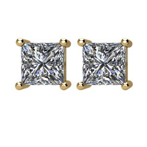 1 1/2 Ct 14k Yellow Gold Princess Cut Diamond Stud Earrings (1.50 Cttw, GH Color, I1 Clarity)