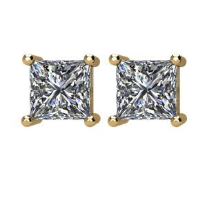 1 Ct 14k Yellow Gold Princess Cut Diamond Stud Earrings (1.00 Cttw, GH Color, I1 Clarity)
