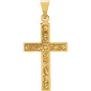 Embossed Flowers Cross 14k Yellow Gold Pendant