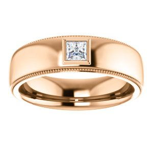 Men's 14k Rose Gold Diamond 6.8mm Milgrain Band (.25 Ctw, Color G-H, SI2-SI3 Clarity) Size 10