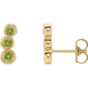 Peridot Three-Stone Ear Climbers, 14k Yellow Gold