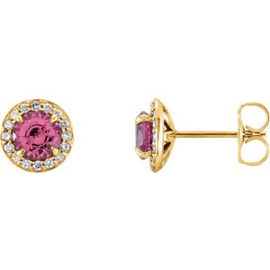 Pink Tourmaline and Diamond Halo-Style Earrings, 14k Yellow Gold (4.5MM) (.16 Ctw, G-H Color, I1 Clarity)