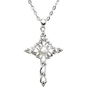 White Freshwater Cultured Pearl Cross 'Confirmed by Grace' Rhodium Plate Sterling Silver Necklace, 18""