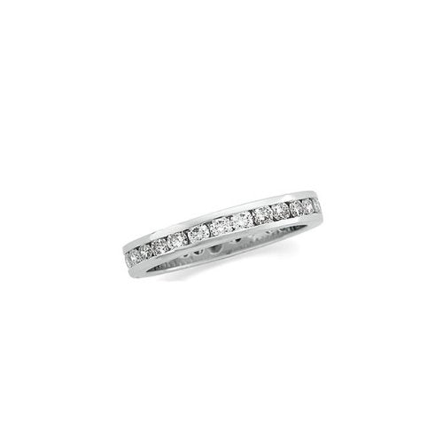 18k White Gold 1 1/4 Cttw Round Diamond Eternity Band, Sizes 4 to 8.5
