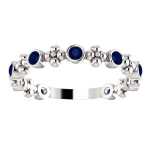 Chatham Created Blue Sapphire Beaded Ring, Rhodium-Plated Sterling Silver, Size 7.5
