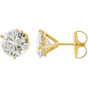 5 Cttw Charles and Clovard 14k Yellow Gold Moissanite Solitaire Stud Earrings