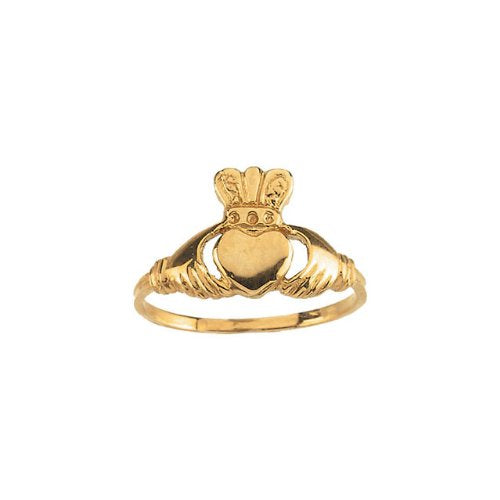Childrens 14k Yellow Gold Claddagh Ring, Size 5