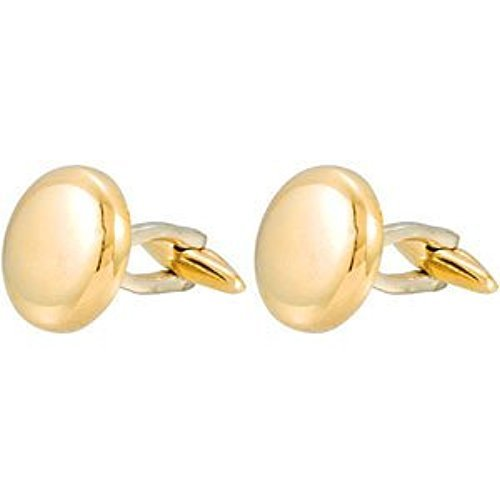14k Yellow Gold Polished Round Cuff Links, Bullet Back Clasp, 15.9MM