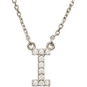 "14k White Gold Diamond Alphabet Letter I Necklace (1/10 Cttw, GH Color, I1 Clarity), 16.25"" to 19.25"""