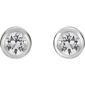 White Sapphire Stud Earrings, Rhodium-Plated 14k White Gold