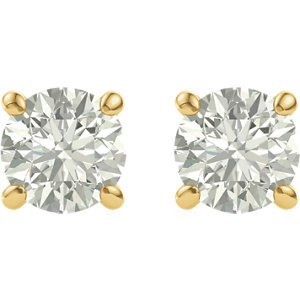 Charles & Colvard Forever One Moissanite Solitaire Earrings, 14k Yellow Gold (7MM)