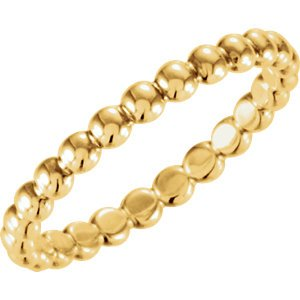 18k Yellow Gold Granulated Bead 2.5mm Stackable Band