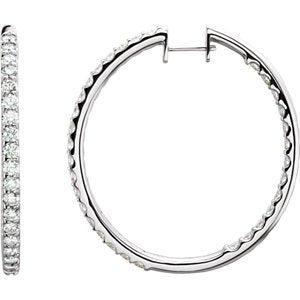 Diamond Inside-Outside Hoop Earrings, 14K White Gold (2 Ctw, Color H-I, Clarity I1 )