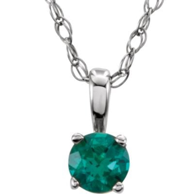 Children's Emerald 'May' Birthstone 14k White Gold Pendant Necklace, 14""