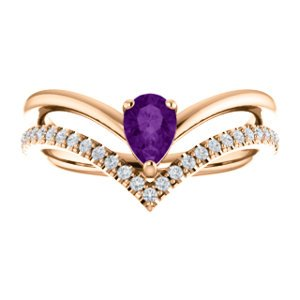 Amethyst Pear and Diamond Chevron 14k Rose Gold Ring (.145 Ctw,G-H Color, I1 Clarity)