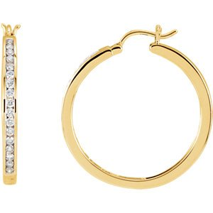 Diamond Channel Set Hoop Earrings, 14k Yellow Gold (1/2 Ctw, Color G-H, Clarity I1)