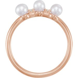 White Freshwater Cultured Pearl, Diamond Stackable Ring, 14k Rose Gold (3.5mm)(.03Ctw, Color G-H, Clarity I1)