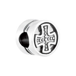 Kera Pattee Cross Cylinder Bead Sterling Silver Charm