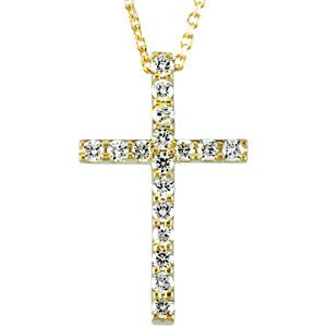 Women's Petite Diamond Cross 14k Yellow Gold Necklace, 18""