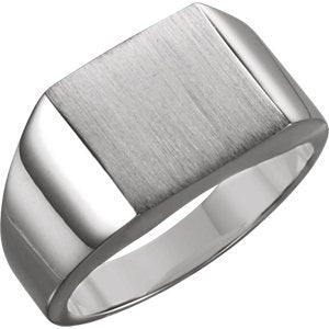 Men's Brushed Signet Ring, Rhodium-Plated 10k White Gold (12mm)
