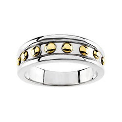 6.5mm 18k White Gold Ring with 14k Yellow Gold Polka Dots, Size 6 to 7
