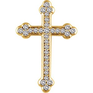 Diamond Botonée Cross 14k Yellow Gold Pendant (.25 Ctw, H+ Color, I1 Clarity)