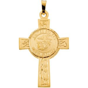 U.S. Marines Corps Cross 14k Yellow Gold Pendant
