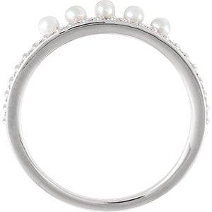 White Freshwater Cultured Pearl, Diamond Stackable Ring, Sterling Silver (2mm)(.2Ctw, Color G-H, Clarity I1) Size 7.5
