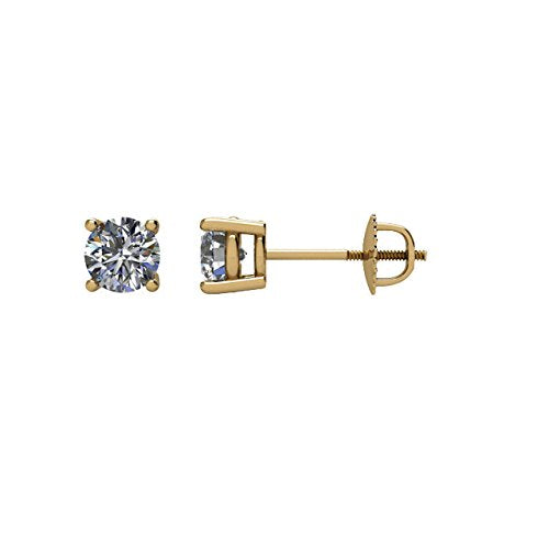 1/2 Ct 14k Yellow Gold Diamond Stud Earrings (.50 Cttw, GH Color, SI1 Clarity)