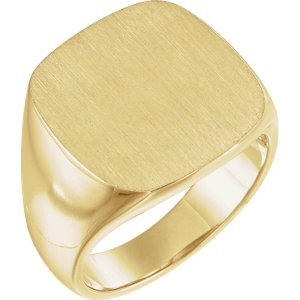 Men's Closed Back Signet Ring, 10k Yellow Gold (18mm) Size 11.5