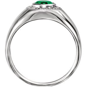 Men's Chatham Created Emerald and Diamond Ring, Rhodium-Plated 14k White Gold (.125 Ctw, G-H Color, I1 Clarity) Size 11.75