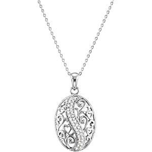 Sterling Silver Round Heart and Scrollwork Family Pendant Necklace 18""