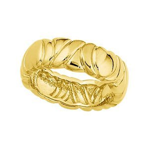 6.5mm 14k Yellow Gold Engraved and Scalloped Band, Size 7