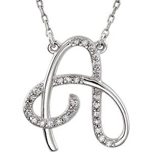 "Diamond Initial 'A' Rhodium Plated 14k White Gold Necklace, 17"" (.125 Cttw, GH Color, I1 Clarity)"