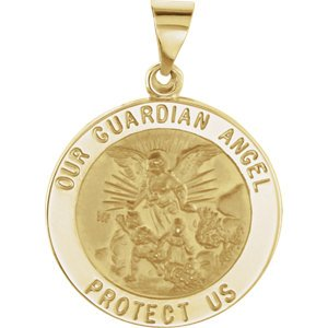 14k Yellow Gold Round Hollow Guardian Angel Medal (21.75 MM)
