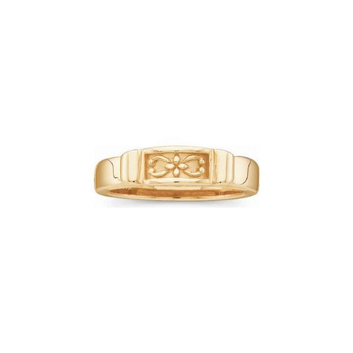 4.75mm 14k Yellow Gold Lotus Fashion Band, Size 6 to 7