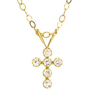 Girl's CZ Cross 14k Yellow Gold Pendant Necklace, 15""