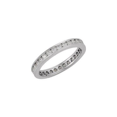 14k White Gold Diamond Eternity Band, Sizes 4 to 8.5