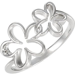 Womens Sterling Silver Double Flower Ring
