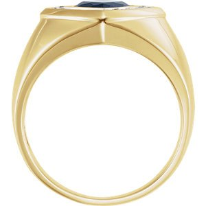 Men's Created Blue Sapphire and Diamond Ring, 14k Yellow Gold (.025 Ctw, HIJ Color, SI2-I1 Clarity), Size 10