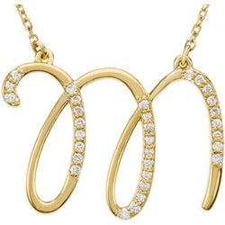 "14k Yellow Gold Alphabet Initial Letter M Diamond Necklace, 17"" (GH Color, I1 Clarity, 1/6 Cttw)"