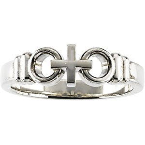 14k White Gold Ladies Joined By Christ Ring S9.5
