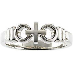 Sterling Silver Ladies Joined By Christ Ring, Size 11
